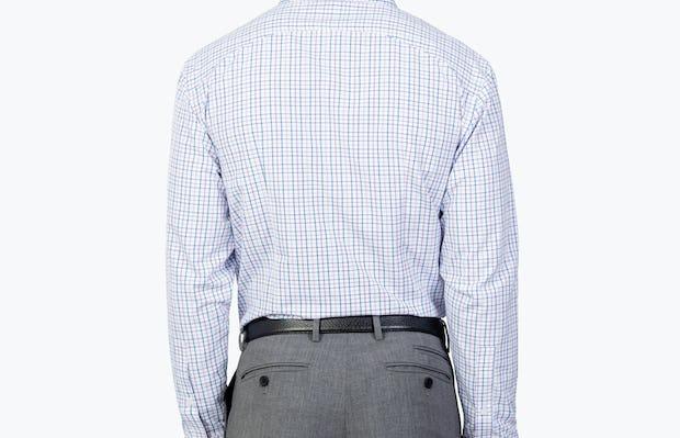 Men's Lavender Tattersall Aero Zero Dress shirt model facing backward
