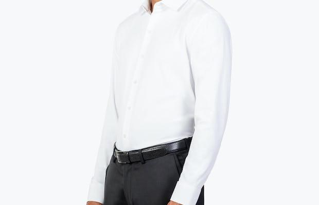 Men's White Aero Zero Dress shirt model facing forward and to the right
