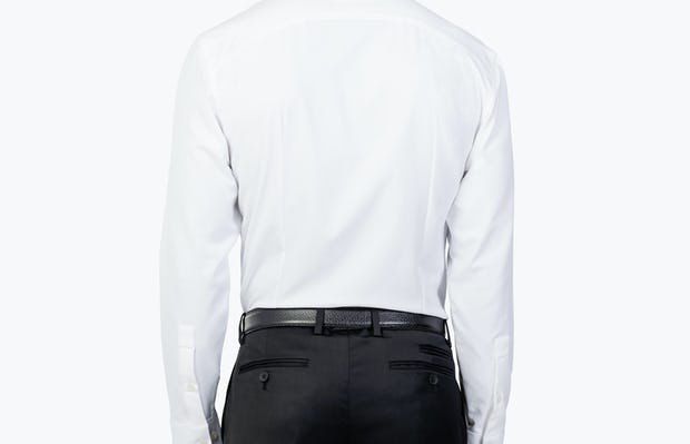 Men's White Aero Zero Dress shirt model standing backwards