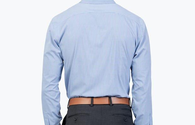 Men's Blue Grid Gemini shirt model facing backward