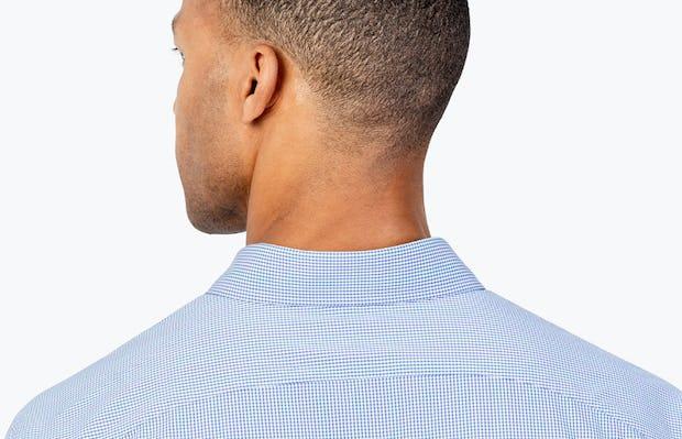 Men's Blue Grid Gemini shirt headshot from behind