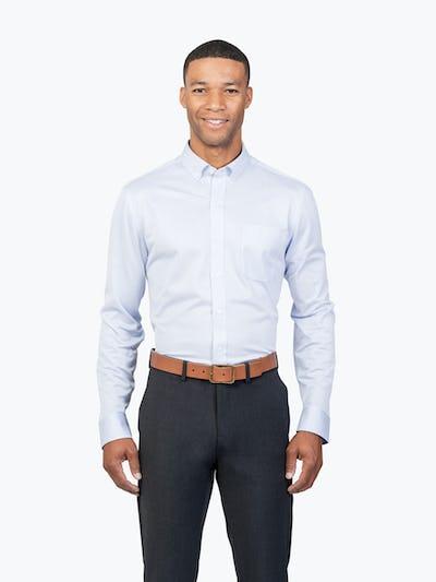 Men's Blue Stripe Gemini Kit shirt model facing forward