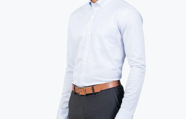 Men's Blue Stripe Gemini Kit shirt model facing forward and to the right