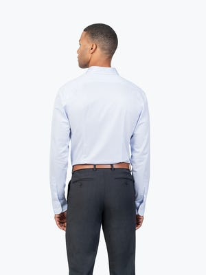 Men's Blue Stripe Gemini Kit shirt model facing backward