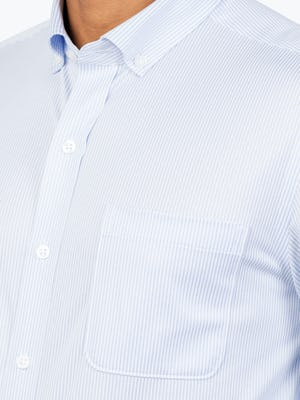 Men's Blue Stripe Gemini Kit shirt model facing forward and to the right with closeup of placket