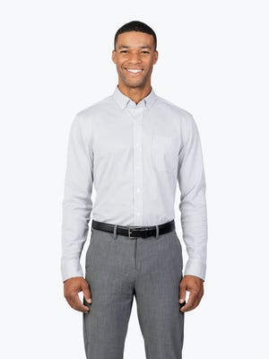 Men's Grey Stripe Gemini Knit shirt model facing forward