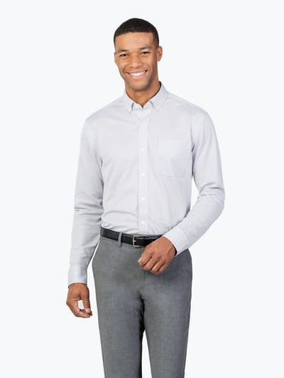 Men's Grey Stripe Gemini Kit shirt model facing forward with hand on belt