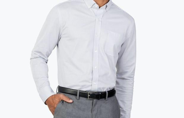 Men's Grey Stripe Gemini Kit shirt model facing forward with hand in pocket