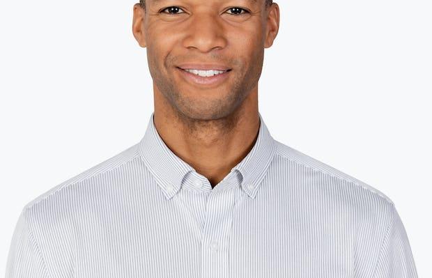 Men's Grey Stripe Gemini Knit shirt headshot of model