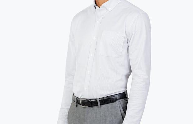 Men's Grey Stripe Gemini Kit shirt model facing forward and to the right