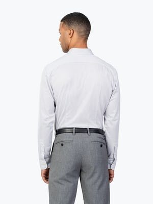 Men's Grey Stripe Gemini Knit shirt model facing backward