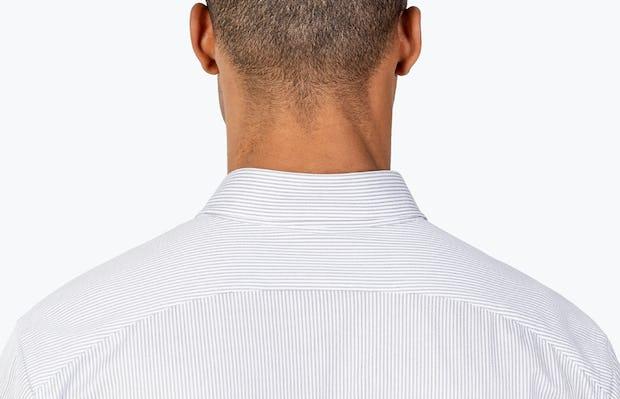 Men's Grey Stripe Gemini Knit shirt headshot from behind