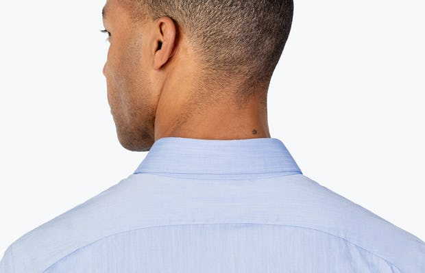 Men's Blue Gemini Woven shirt headshot from behind