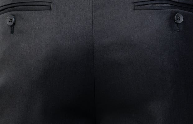 Men's Black Velocity Merino Pant close shot of belt loops and back pockets
