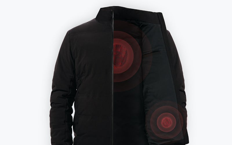 Black Mercury Intelligent Heated Jacket Highlighting Heating Elements
