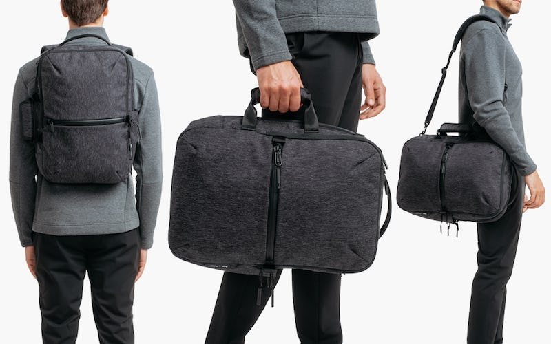 Black Heather Aer Ministry of Supply x Aer Flight Pack 2 — Carried 3 Different Ways