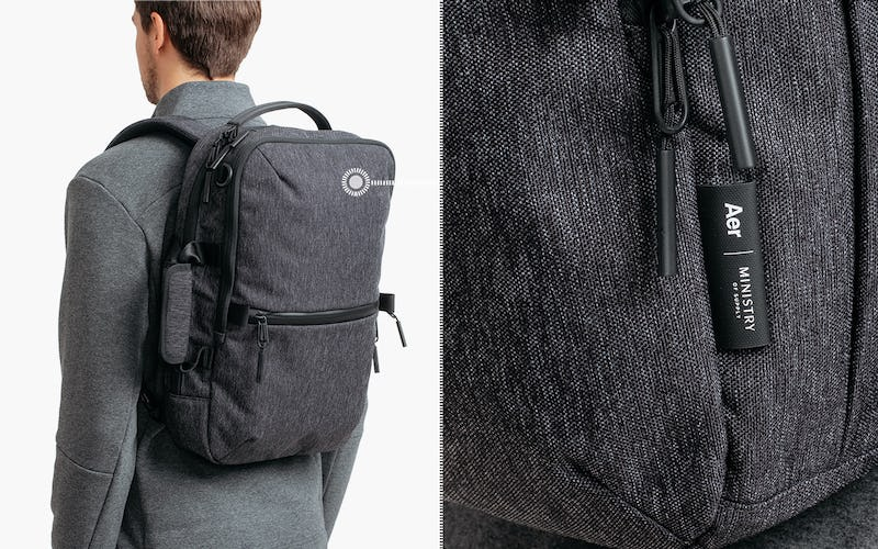 Black Heather Aer Ministry of Supply x Aer Flight Pack 2 — Cordura Exterior