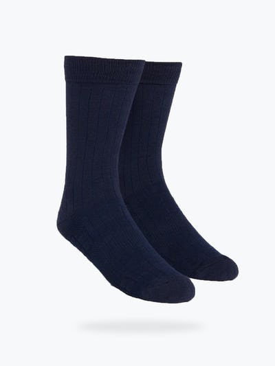 Navy Rib Knit Atlas Dress Socks
