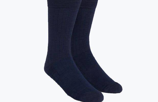 Navy Rib Knit Atlas Dress Socks