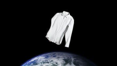 White Aero Zero Dress Shirt Floating Over the Earth