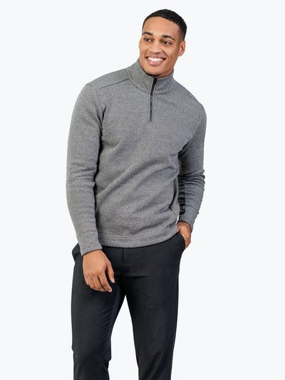 Men's Hybrid Fleece 1/4 Zip - Black and White Tweed - Main Image
