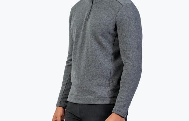 Men's Hybrid Fleece 1/4 Zip - Grey - Image 3