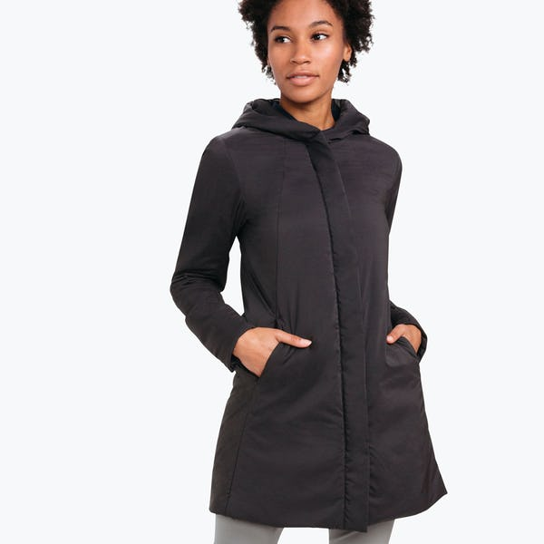 Women's black Aurora coat on model