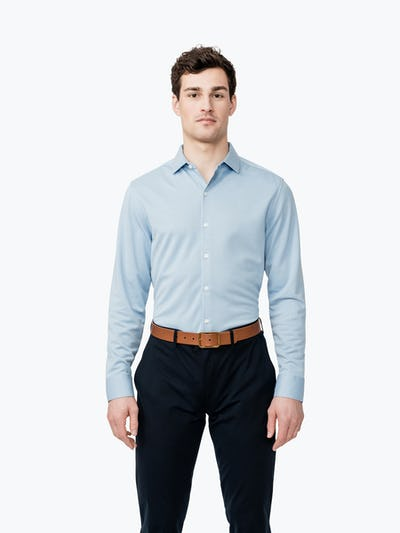 Men's Blue Heather Apollo Dress Shirt on Model Facing Forward
