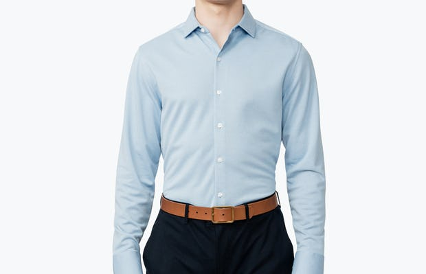 Men's Blue Heather Apollo Dress Shirt on Model Facing Forward