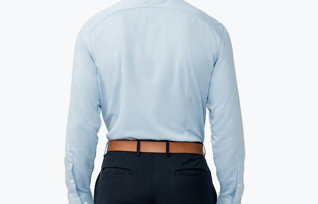 Men's Blue Heather Apollo Dress Shirt on Model Facing Backward