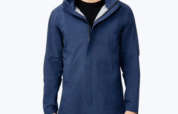 Men's Navy Dry Days Mac on Model Facing Forward with Jacket Unzipped at Top