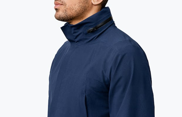 Men's Navy Dry Days Mac on Model Facing Right in Close-Up of Collar