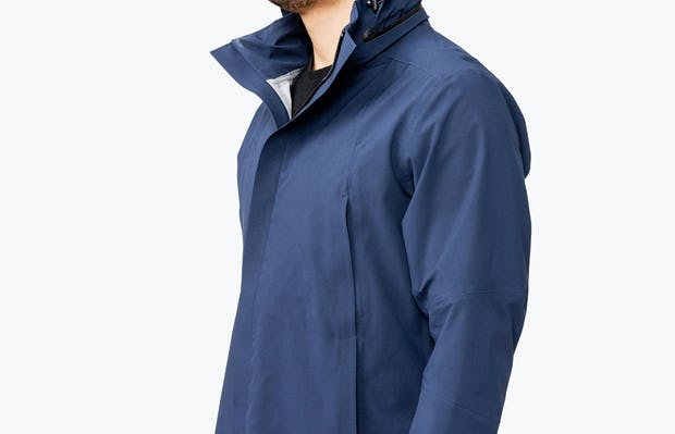 Men's Navy Dry Days Mac on Model Facing Right wearing Hood