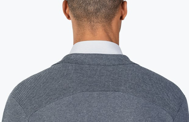 Men's Grey Atlas Knit Blazer model close up facing away from camera