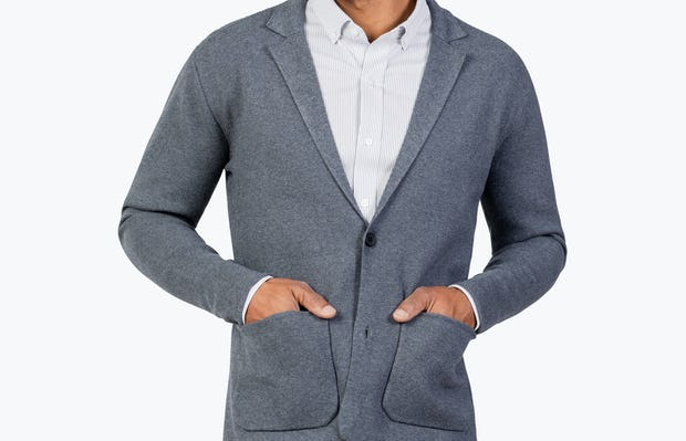Men's Grey Atlas Knit Blazer buttoned, model with hands in pockets