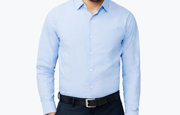 Men's Solid Blue Nylon Aero Dress Shirt on Model Facing Forward