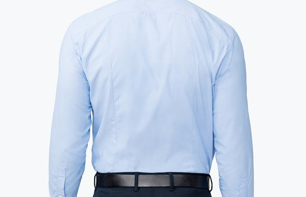 Men's Solid Blue Nylon Aero Dress Shirt on Model Facing Backward