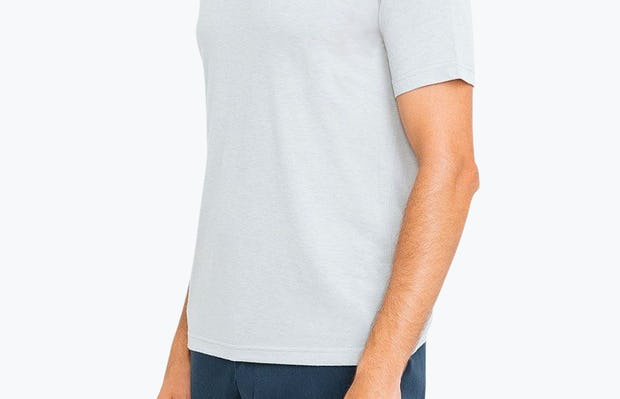 Men's Grey Composite Polo on Model Facing Right