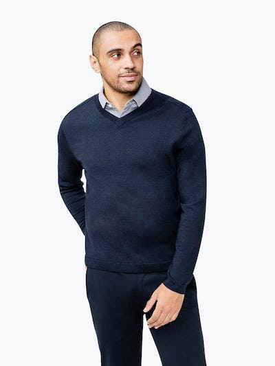 Men's Navy Atlas V-Neck Sweater on Model Facing Forward