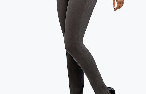 Women's Charcoal Heather Kinetic Skinny Pant on Model Walking to Her Right