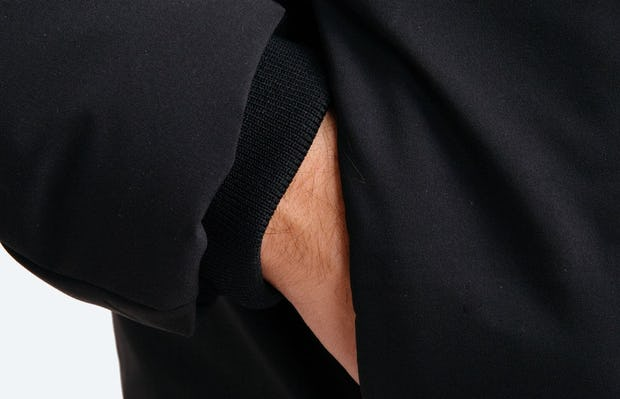 Men's Black Mercury Intelligent Heated Jacket on Model in Close-Up of Hand in Pocket