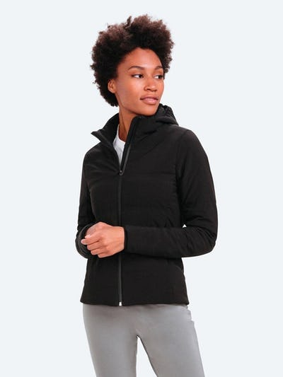Women's Black Mercury Intelligent Heated Jacket on Model Facing Forward