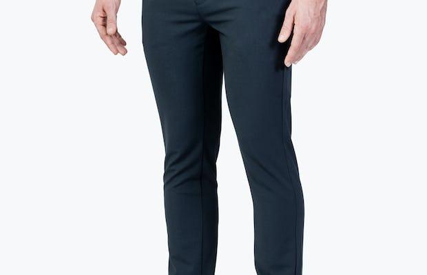 Men's Dark Navy Velocity Dress Pant on Model Walking Right