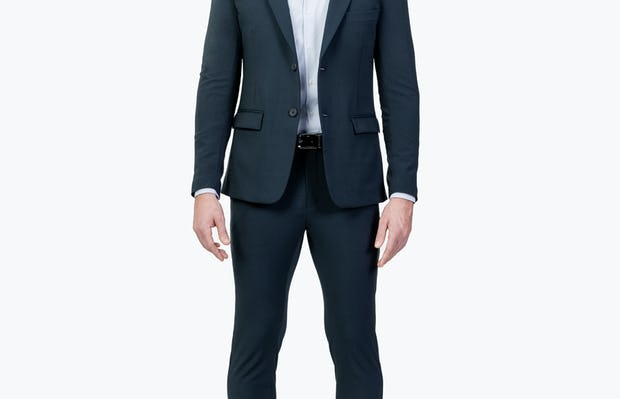 Men's Dark Navy Velocity Suit on Model Facing Forward with Jacket Unbuttoned