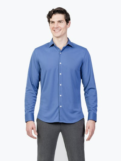 Men's Ocean Blue Apollo Dress Shirt model facing forward and shirt untucked