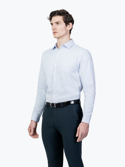 Men's Blue Aero Zero Dress shirt model facing forward and to the right