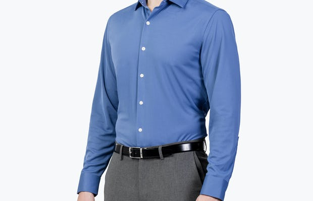 Men's Ocean Blue Apollo Dress Shirt on Model Facing Right