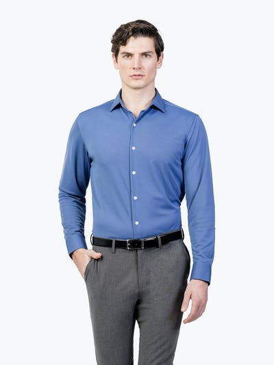 Men's Ocean Blue Apollo Dress Shirt on Model Walking Forward