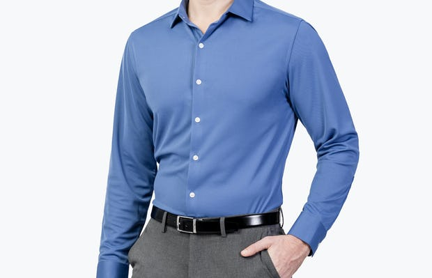 Men's Ocean Blue Apollo Dress Shirt on Model Walking Right with Hand in Pant Pocket