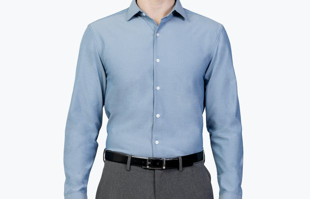 Men's Sky Blue Oxford Brushed Apollo Dress Shirt model facing forward